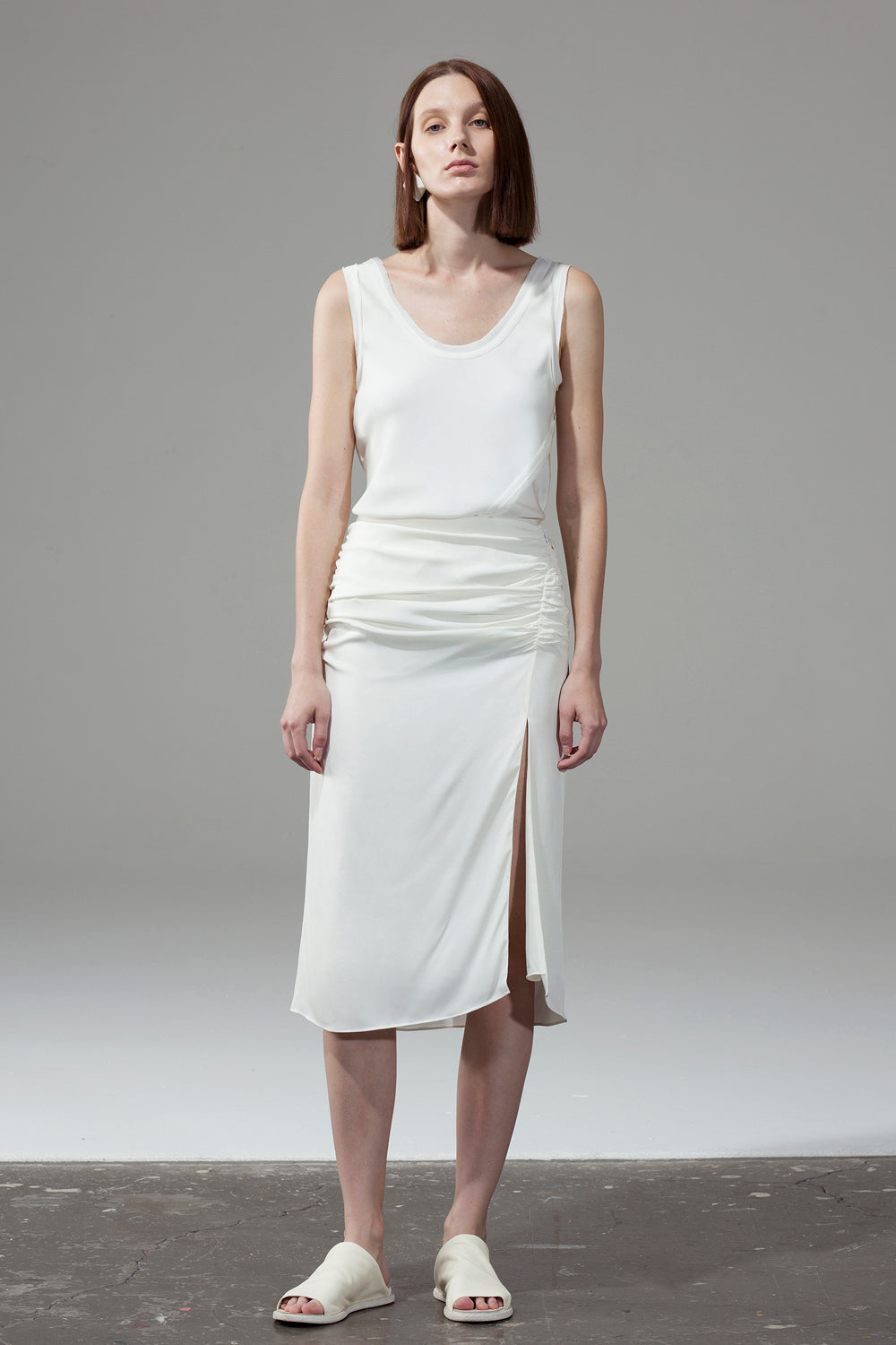 Pleated Split Skirt - White