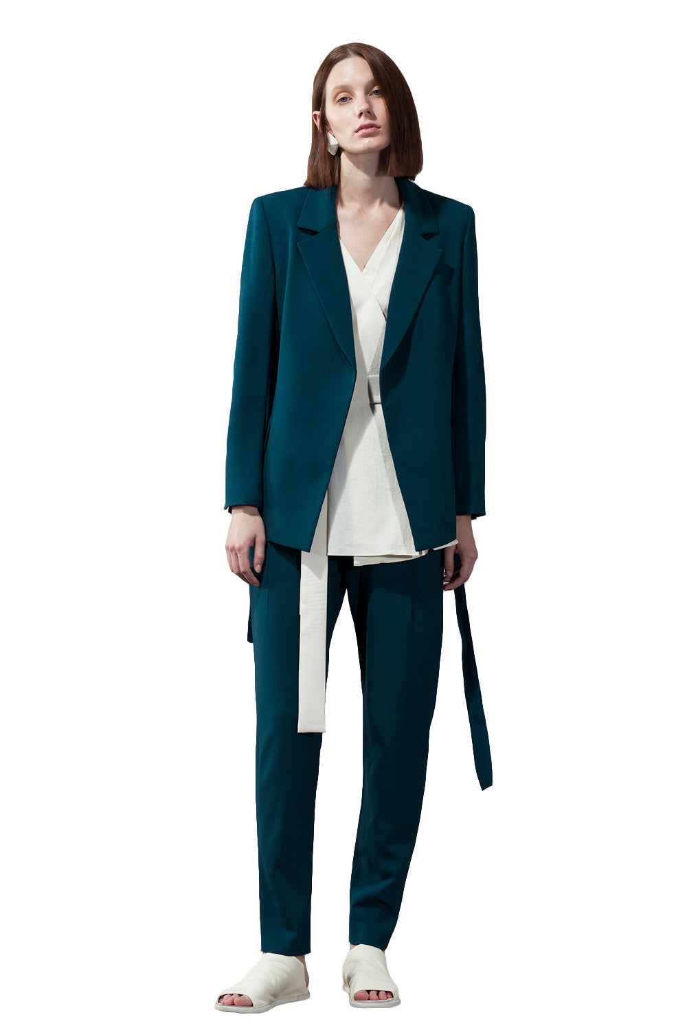 Blue Pleated Back Hem Waist Blazer