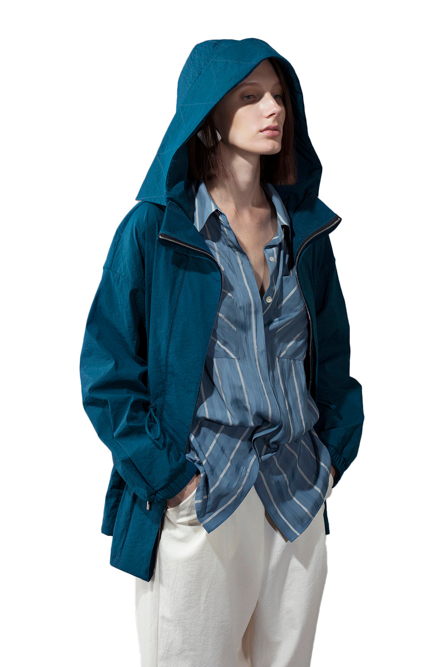 Hooded Trench Coat - Blue