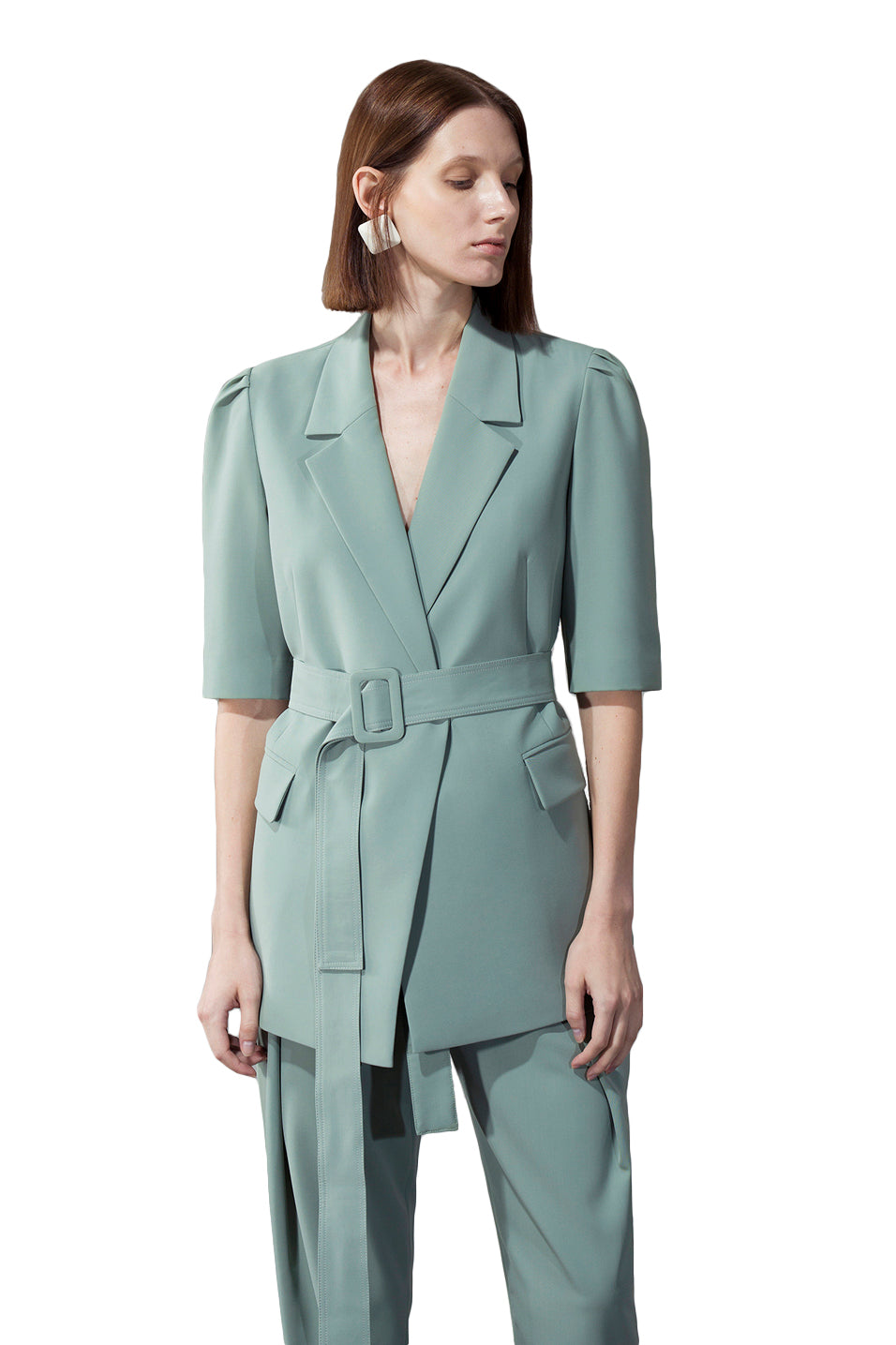 Green Shoulder Pleated Half-Sleeve Blazer