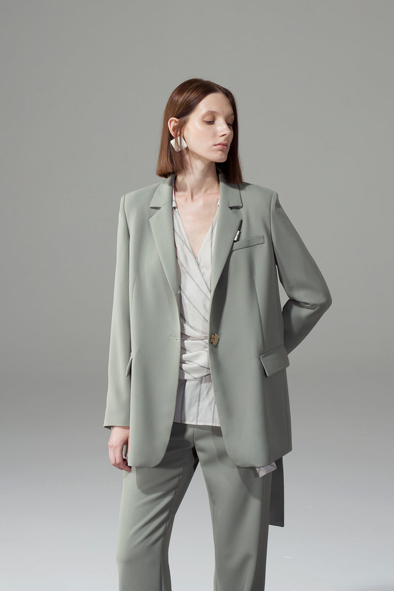 Collared Webbing Straight Blazer - Green