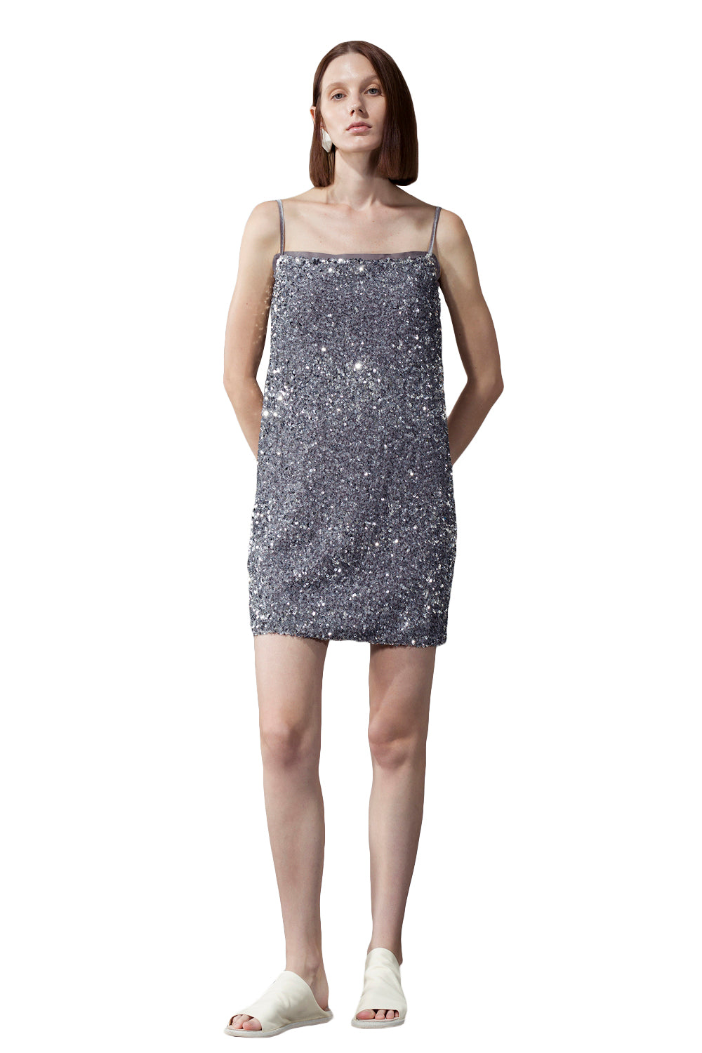 Grey Sequin Bandeau Sling Dress