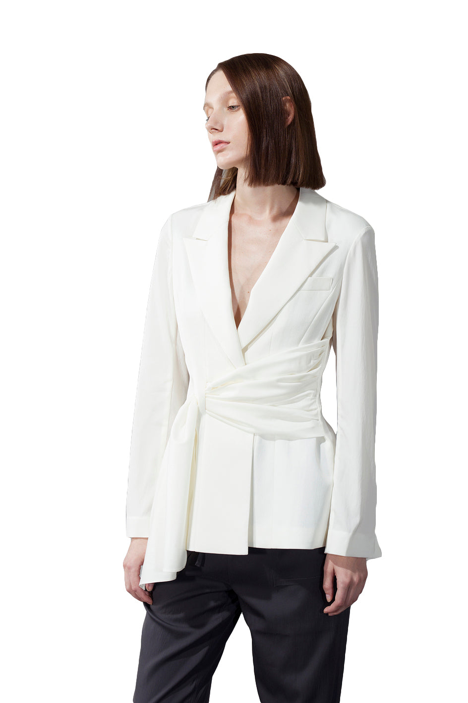 Asymmetric Decorative Belt Blazer - White