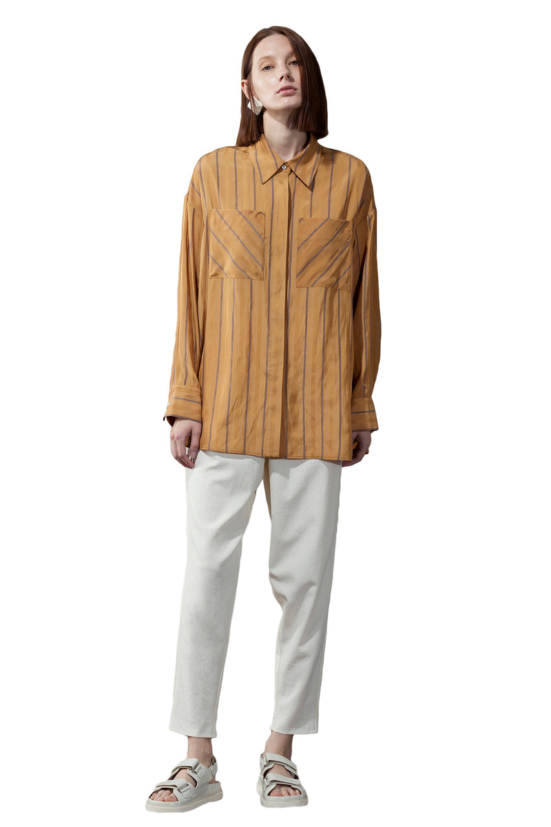 Loose Double Pocket Striped Shirt - Yellow