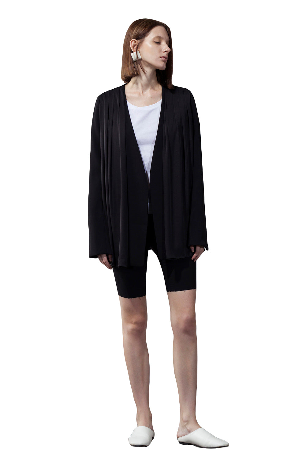 Black Front Pleated Stitching Blazer