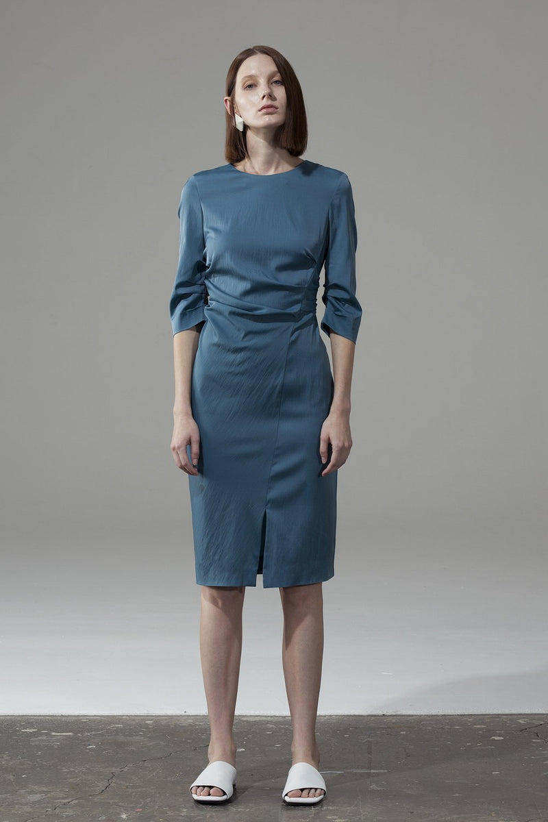 Unilateral Side Slit Dress - Blue