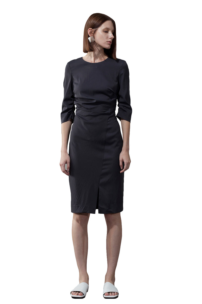 Unilateral Side Slit Dress - Black