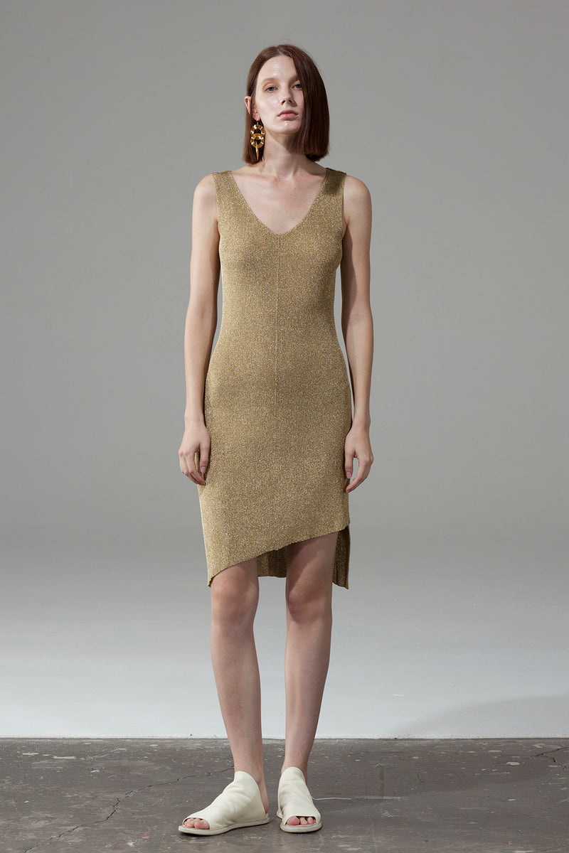V-Neck Slim Dress - Golden