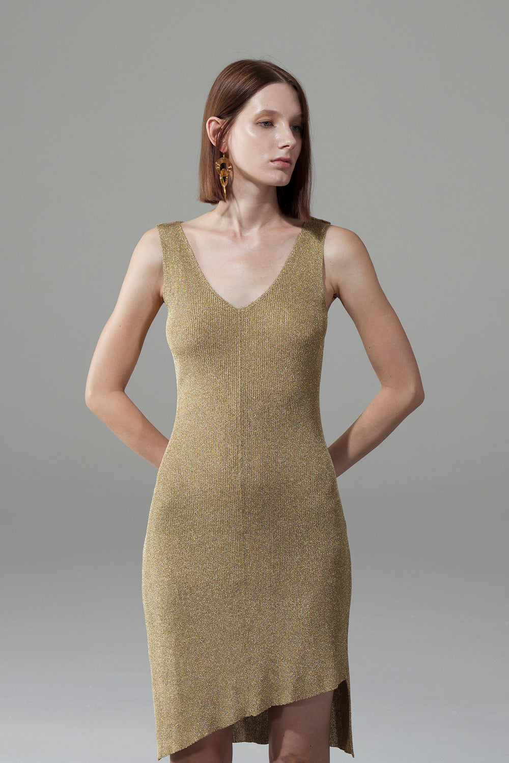 Golden V-Neck Slim Dress