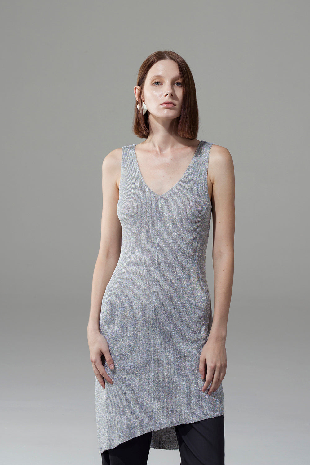 Silver V-Neck Slim Dress