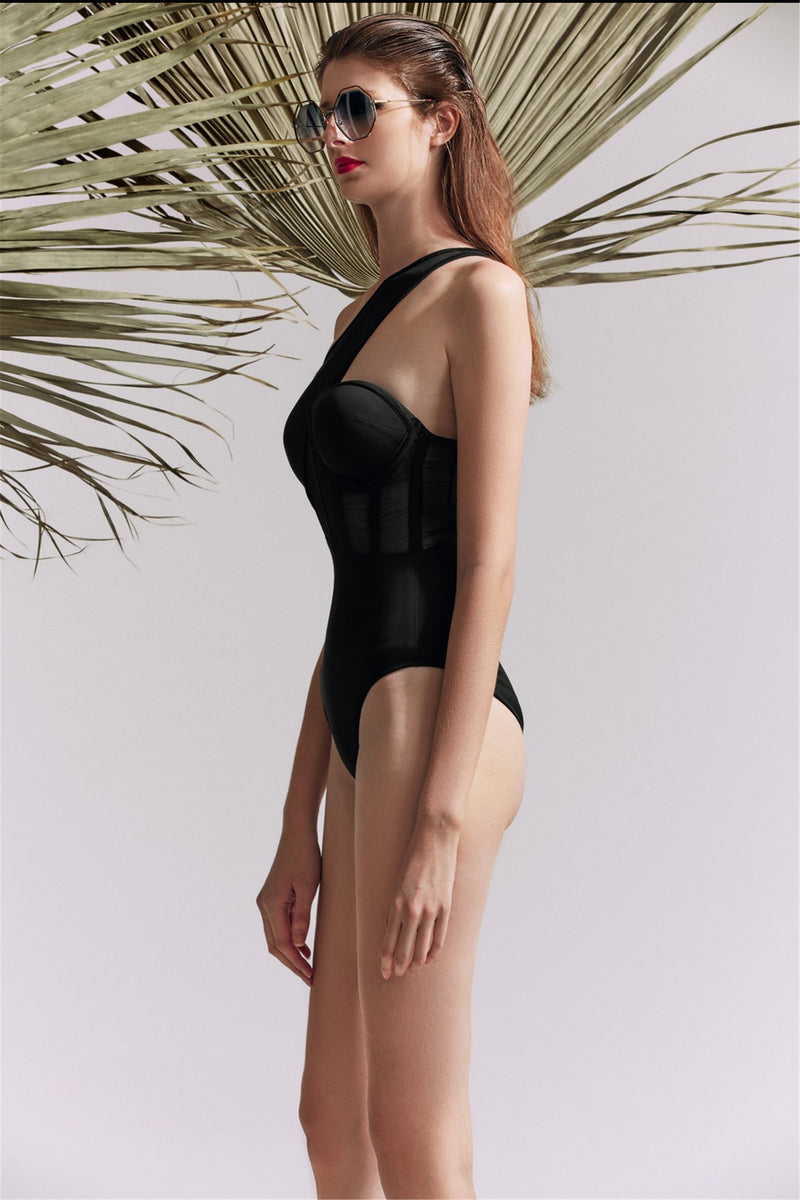Black Oblique Shoulder Stitching One-Piece Swimsuit