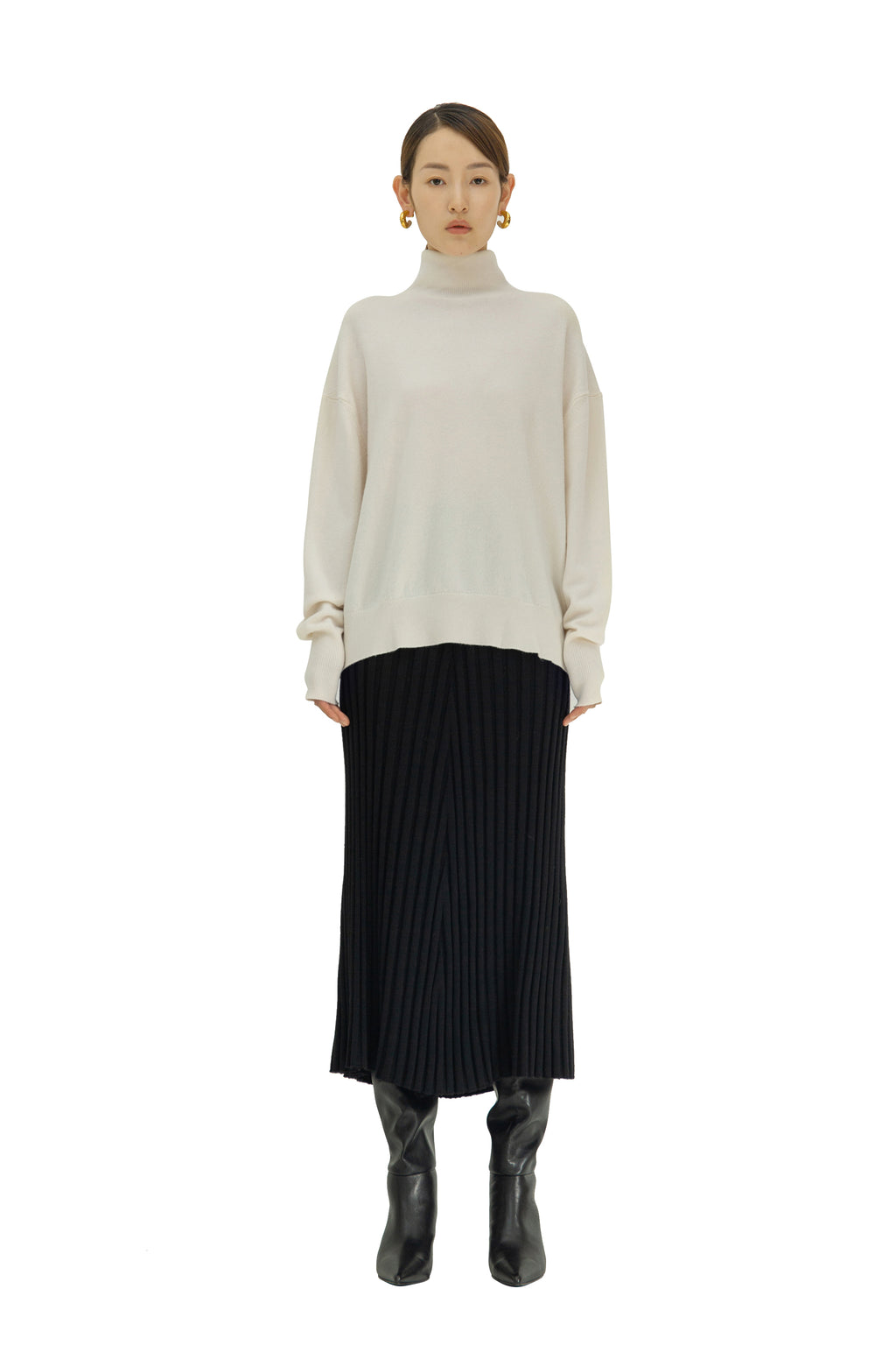 Wool and cashmere-blend midi skirt