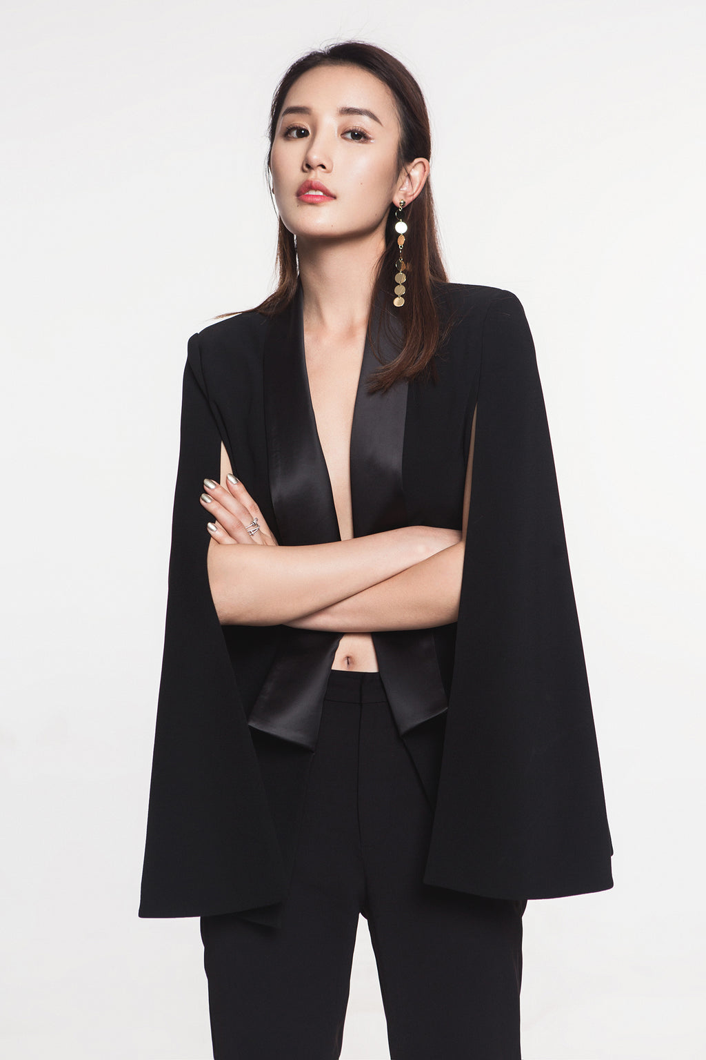 FEVER WANG black satin cloak coat