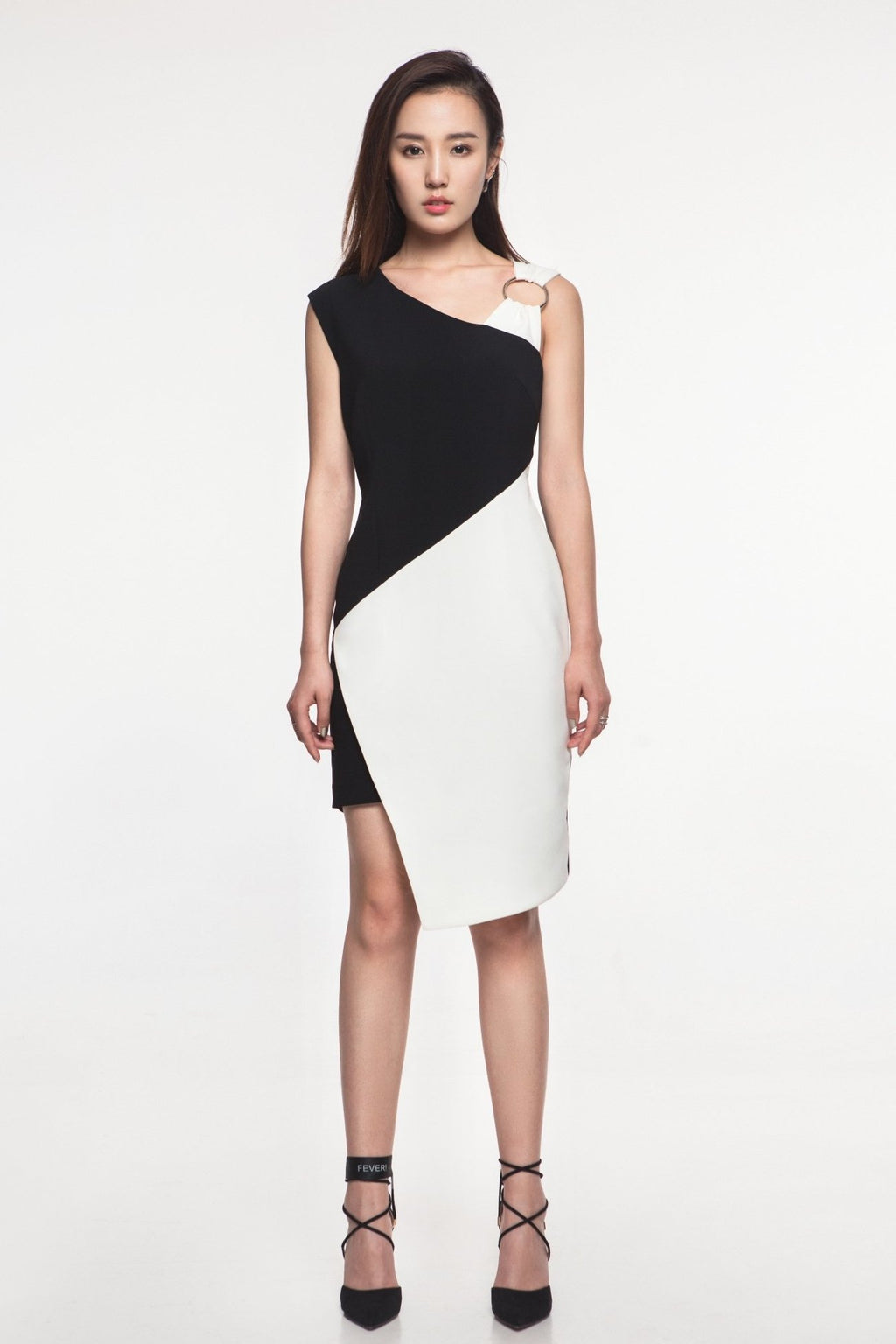 FEVER WANG asymmetric black and white dress