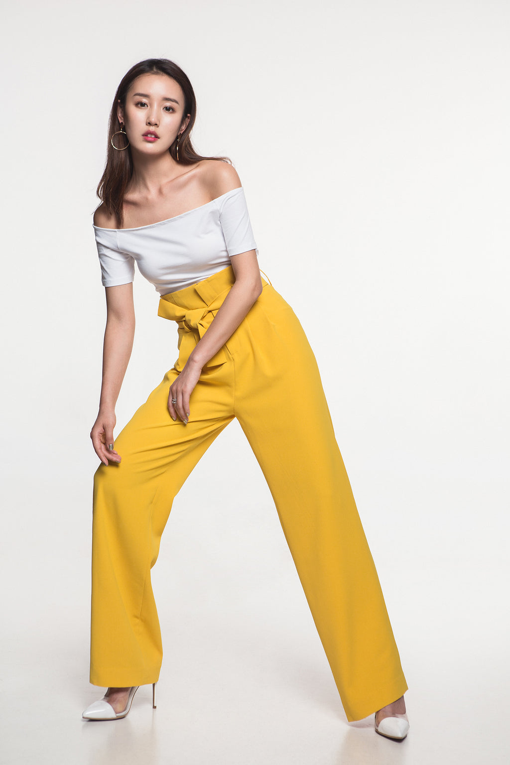 High Waist Yellow Pants