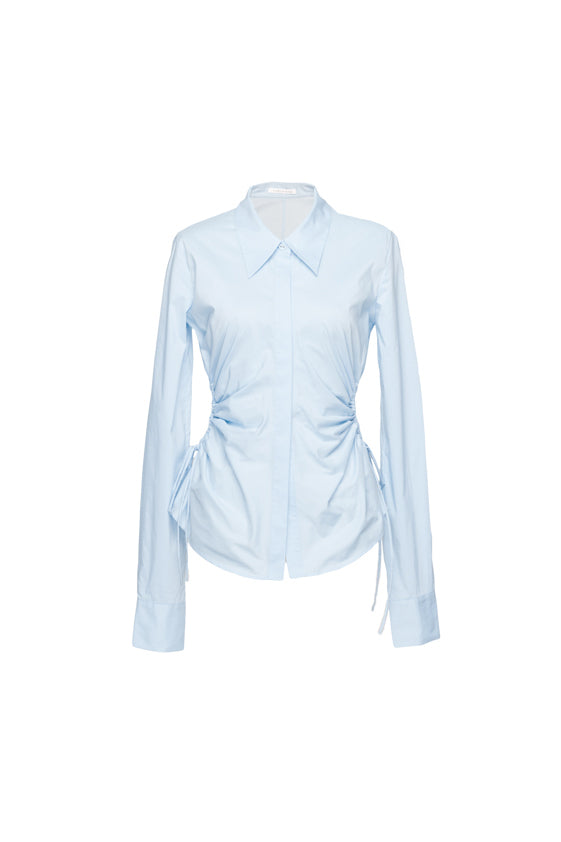 Waist Hollow Pleated Shirt