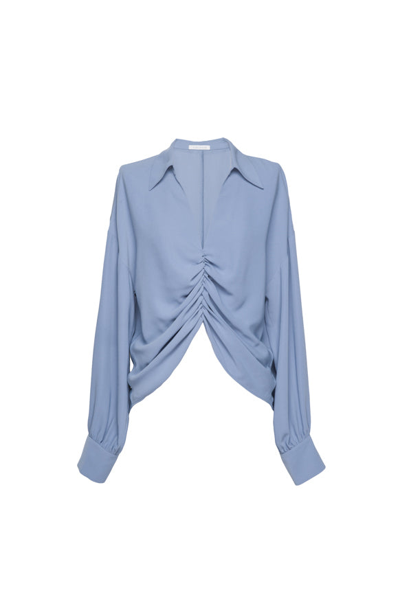 V-Neck Pleated Shirt