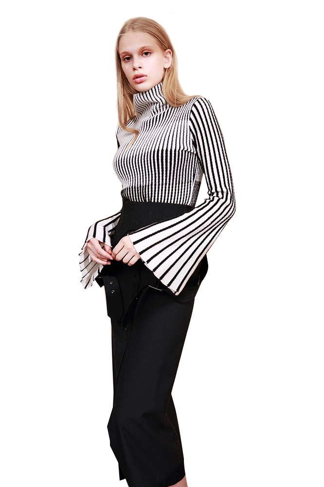 High Collar Striped Pullover