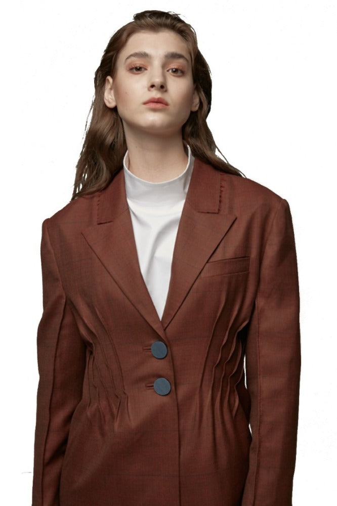 Ocher-Colored Suit Blazer