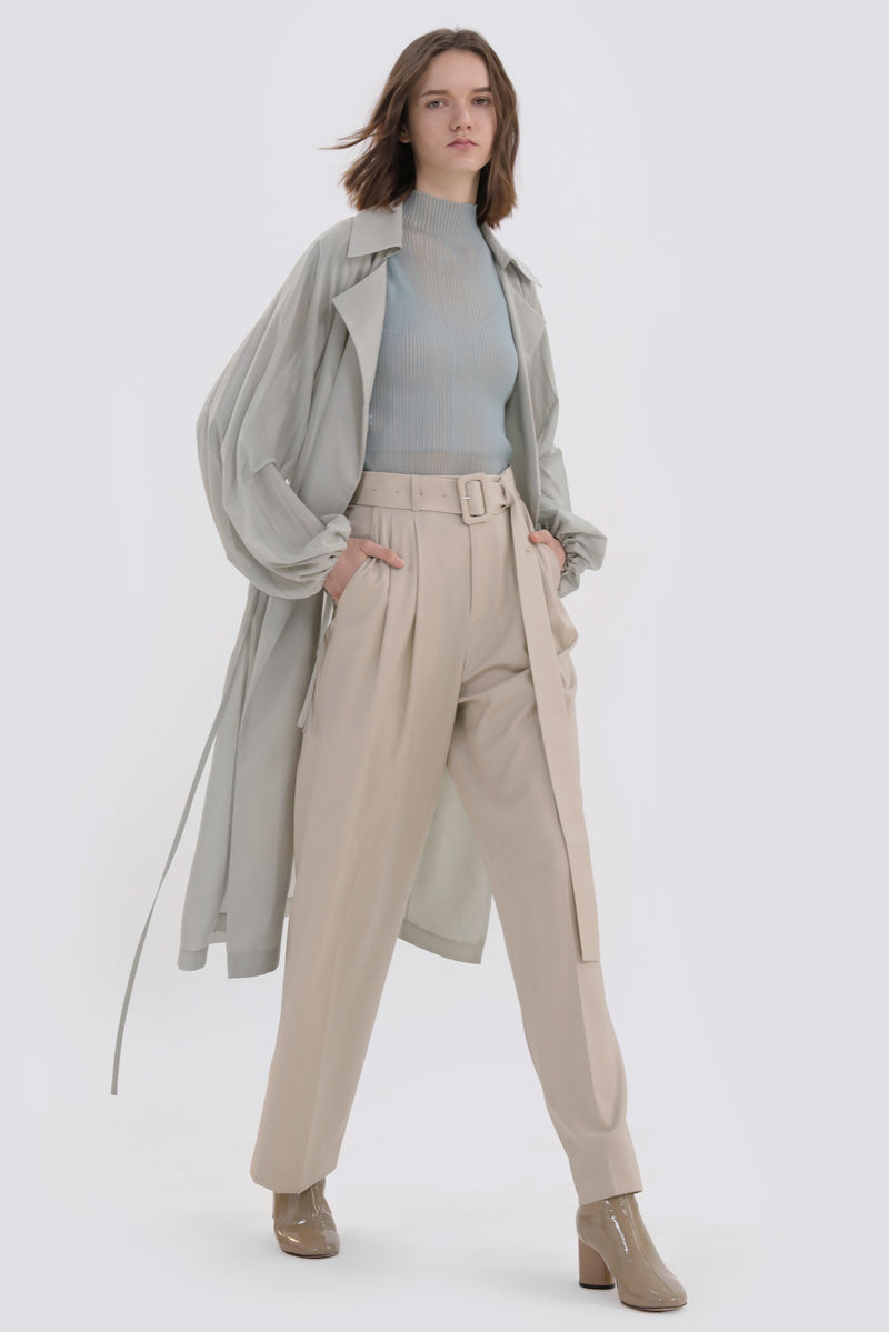 Pleated Long Trench Coat