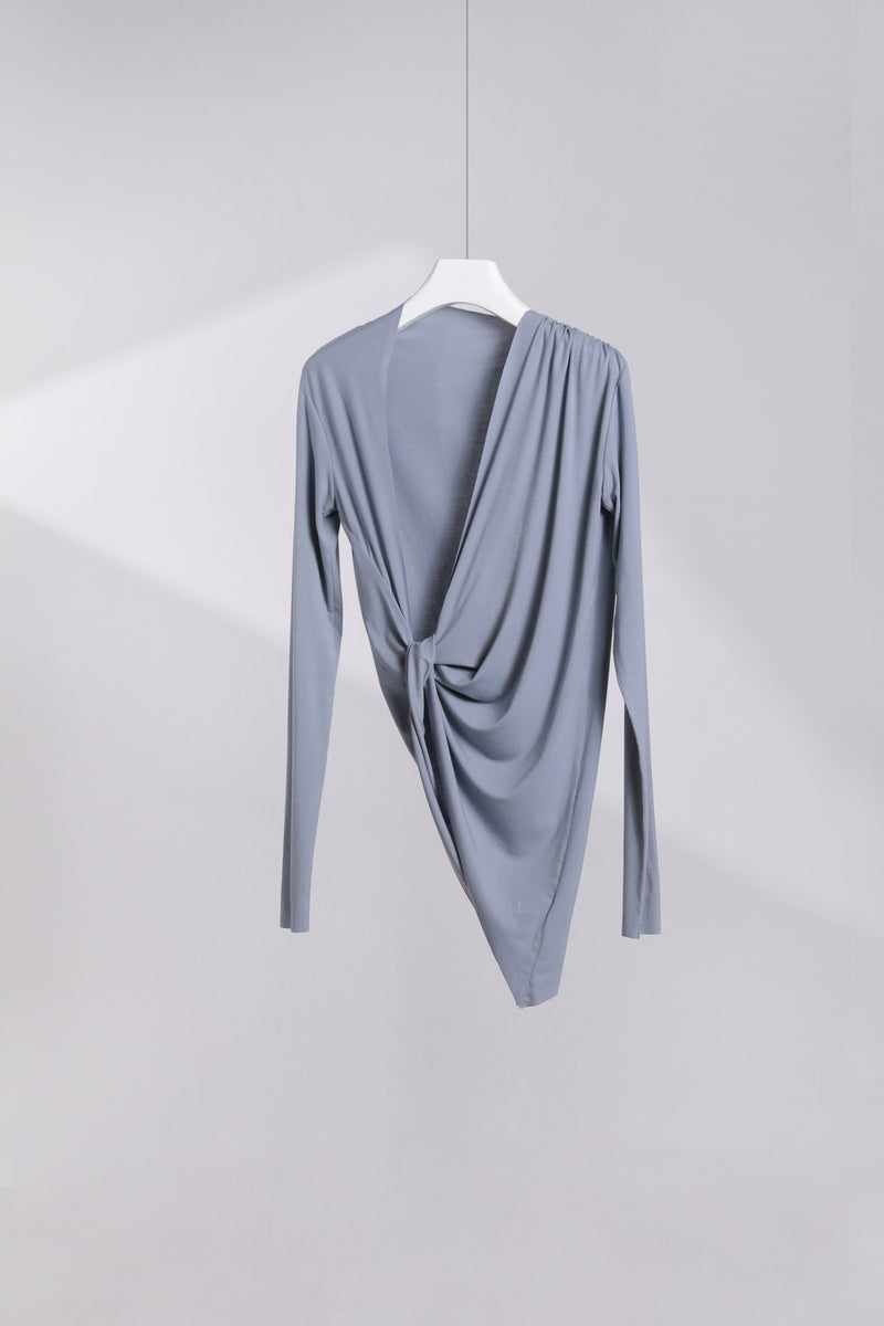 Open Back Pleated Long Sleeve T-Shirt