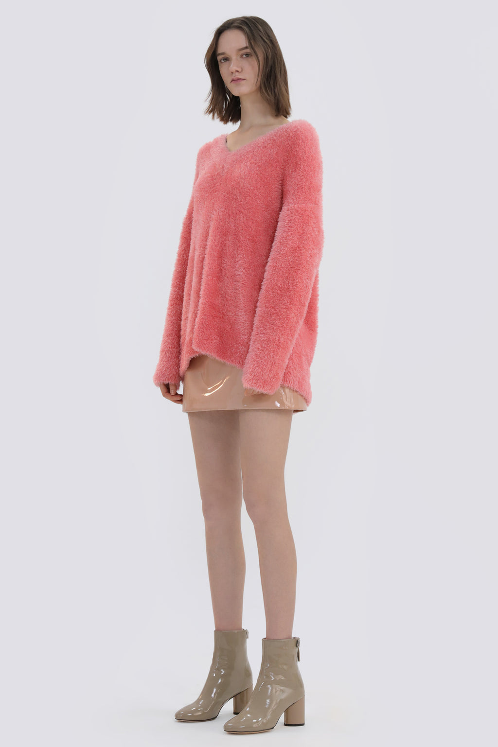 Feather Gauze V-Neck Sweater