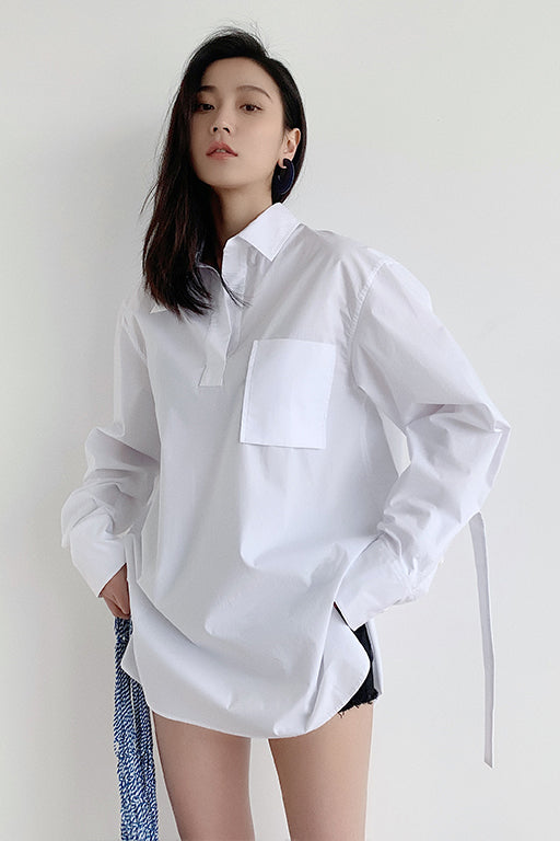 Half-Open Collar BF Shirt