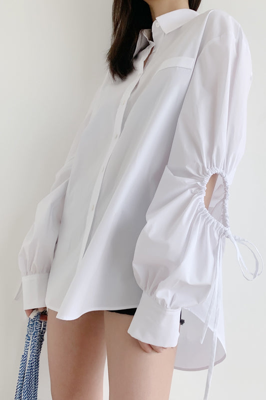 Sleeve Pleated Openwork Shirt