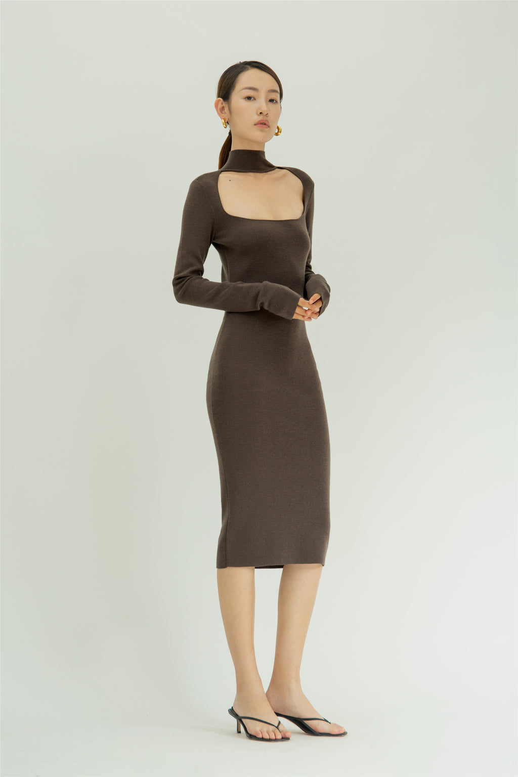 Wool-blend U neck dress