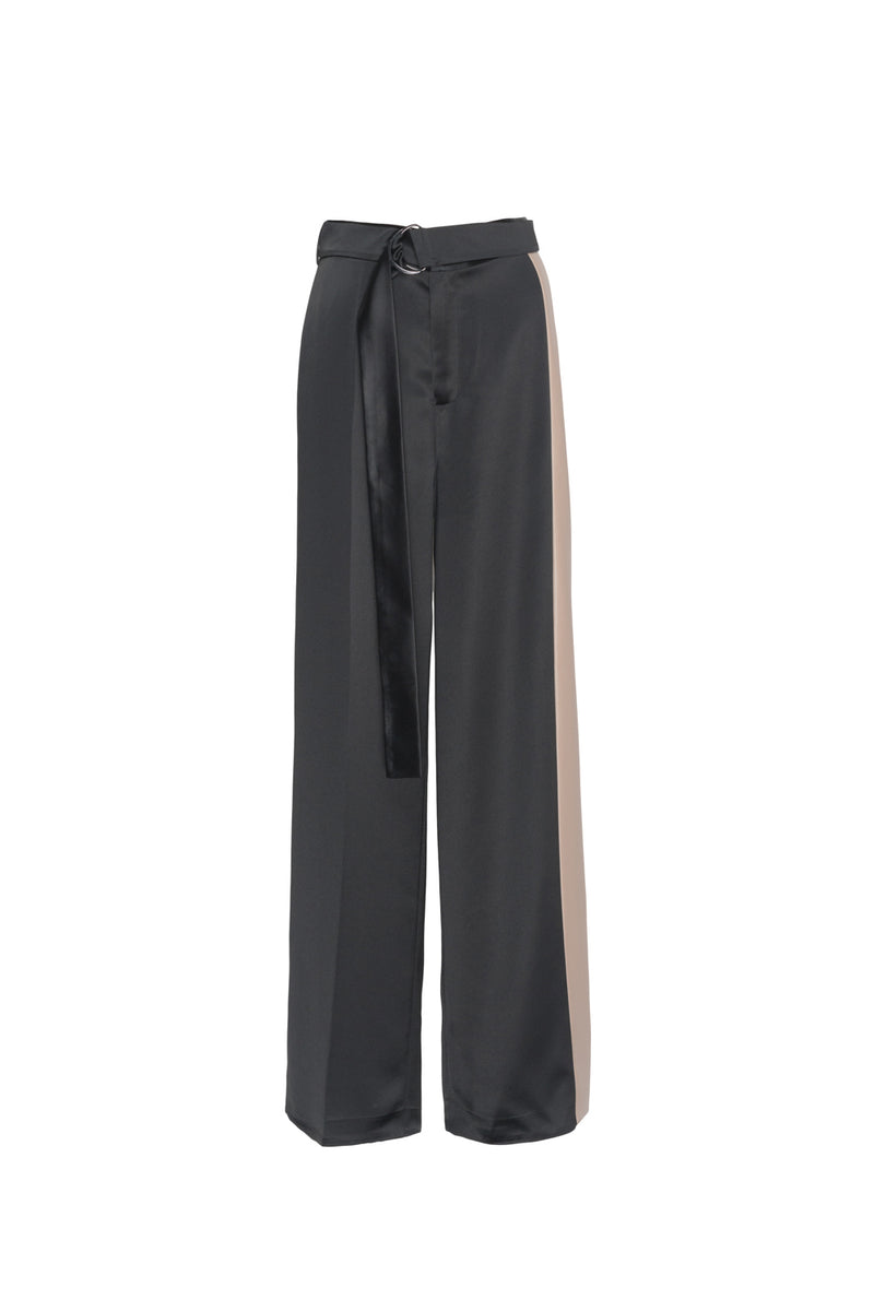 Leather Stitching Wide-Leg Pants