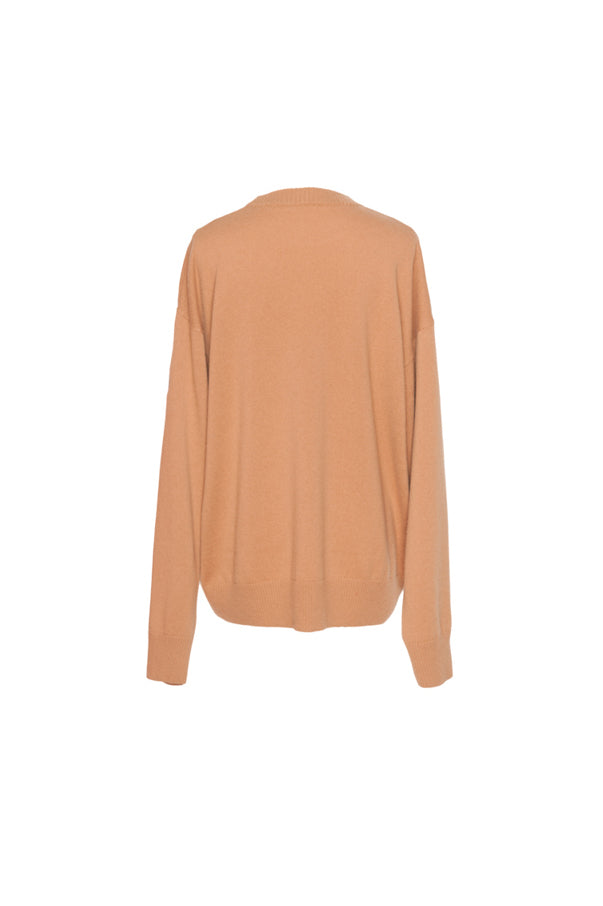 Openwork-Sleeve Round Neck Sweater