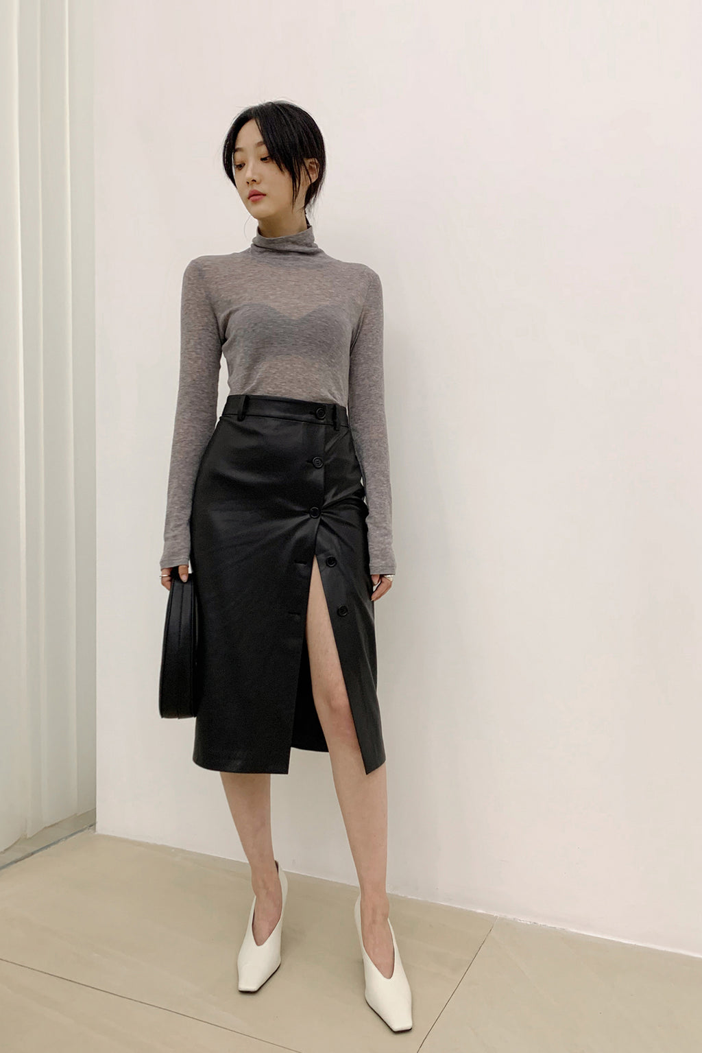 Side Buckle Middy Skirt - Black