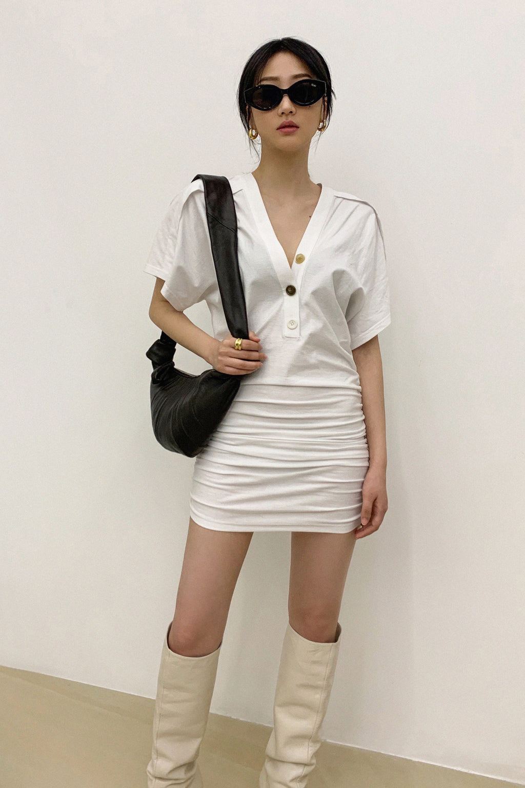 Half-Neck Collar Pleated Dress