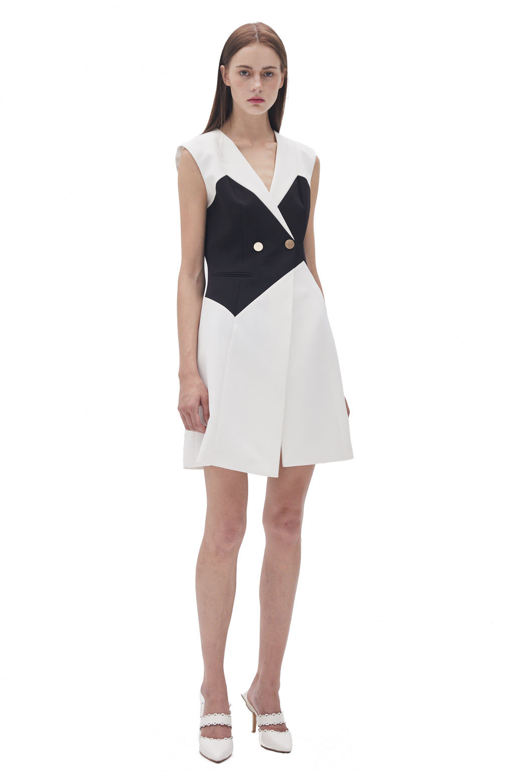 Black And White Stitching Sleeveless Dress