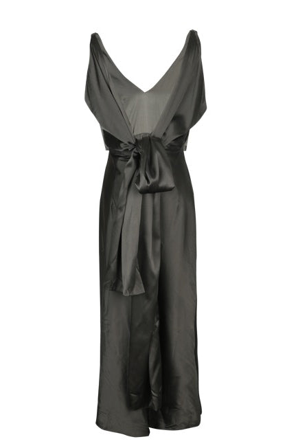 Silk Knotted Backless Dress