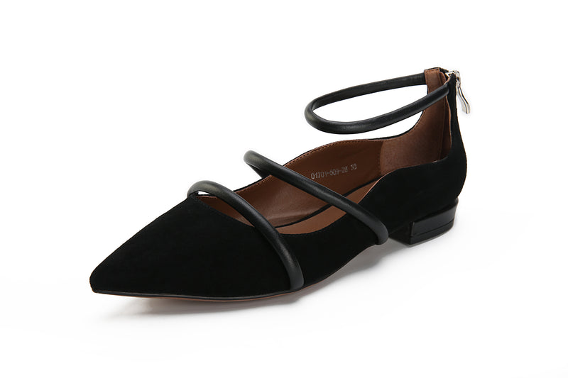 Cashmere Leather Point-Toe Flats