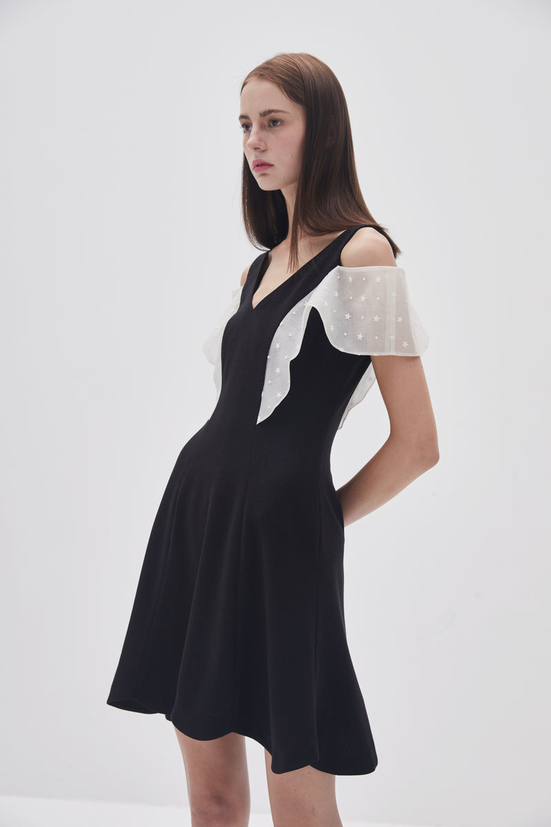 Transparent Petal Sleeve Dress