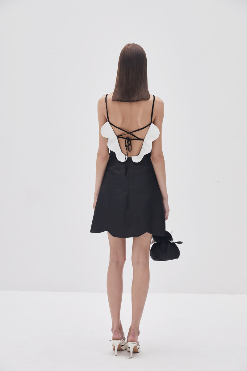 Black Petal Mini Dress
