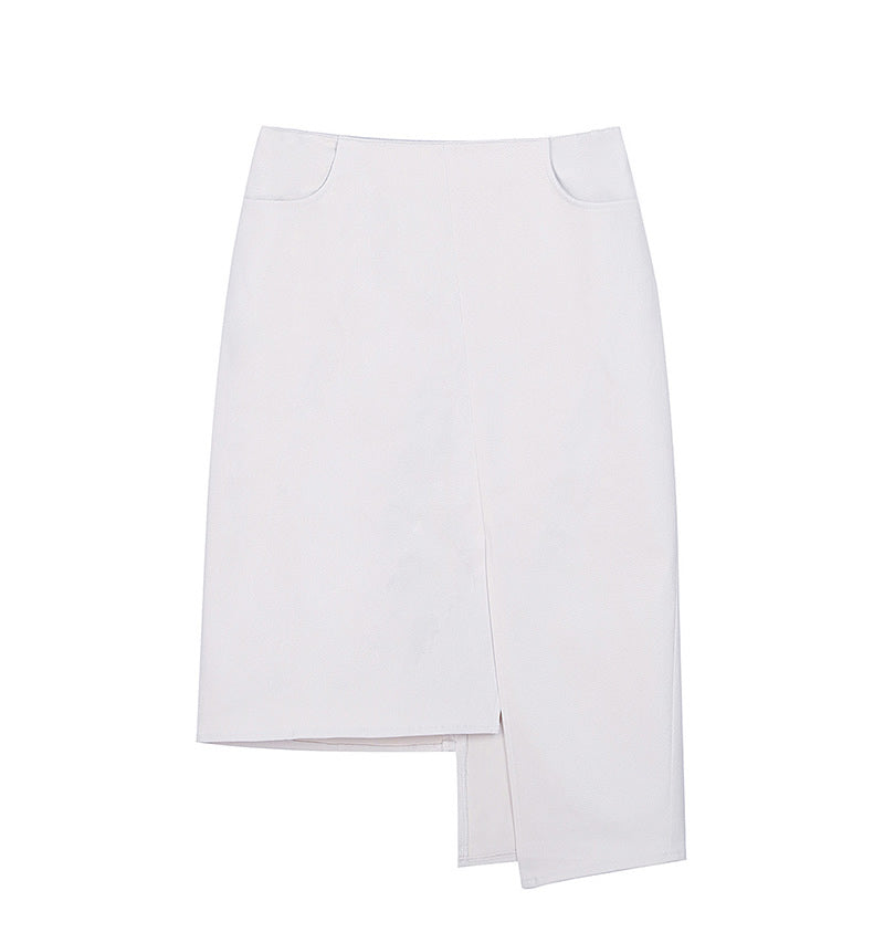 Patchwork denim half skirt -white
