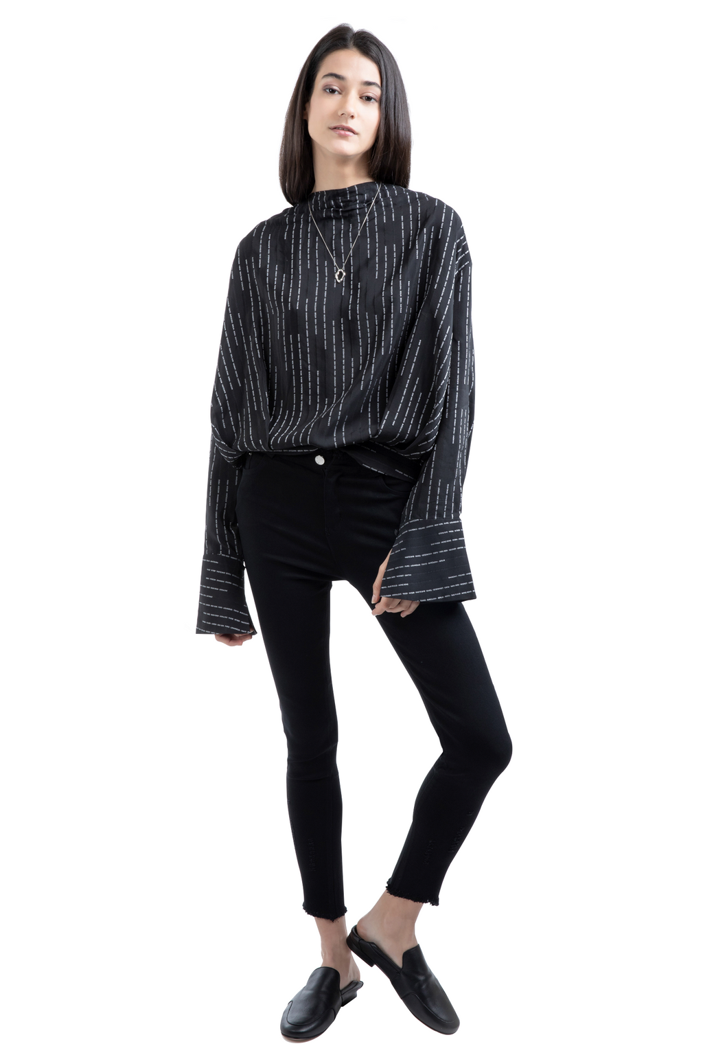Black Oversized Striped Shirt
