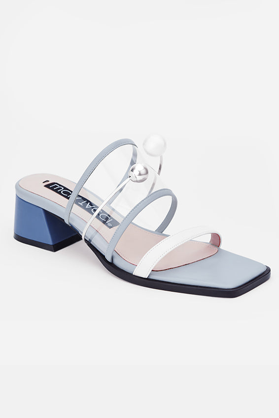 Gray-Blue Square Buckle Sandals