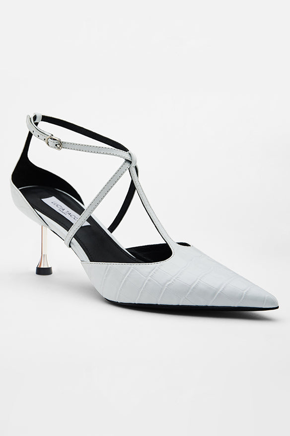 White-Croc T Crossed Stiletto Stilettos