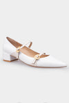 Dora White Metal Shell Buckle Pumps