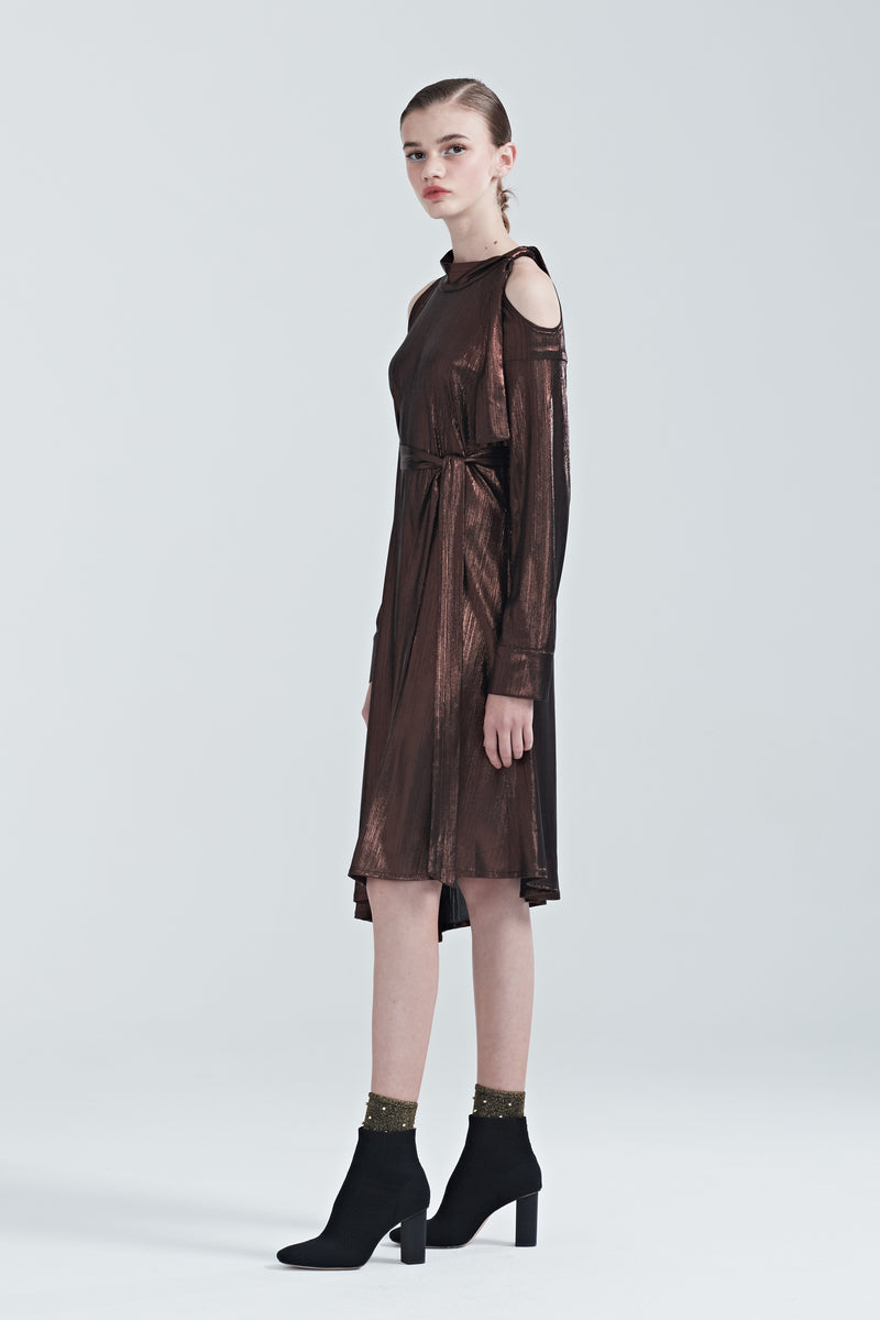 Smooth Off-Shoulder Slant Hem Dress - Brown