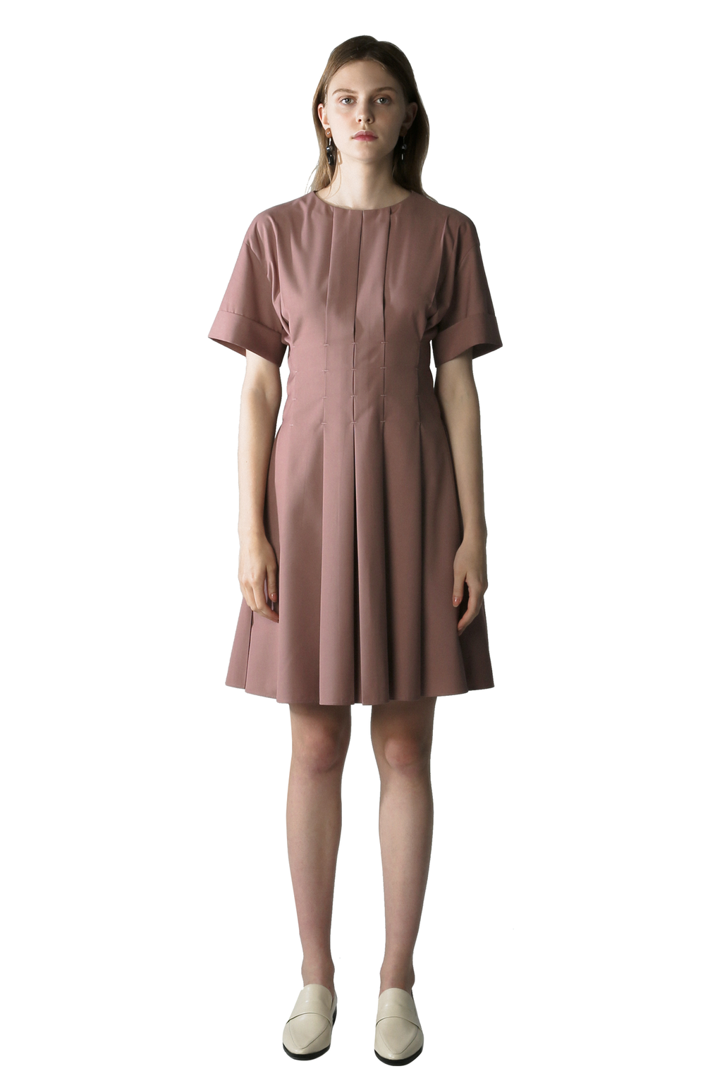Pink Pleated Smock Dress