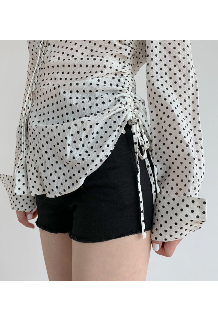 Smocked-Waist Polka Dot Shirt