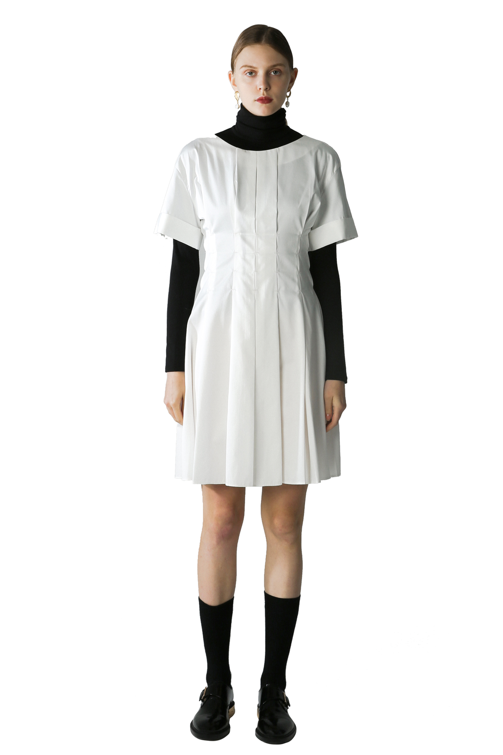 White Pleated Smock Dress