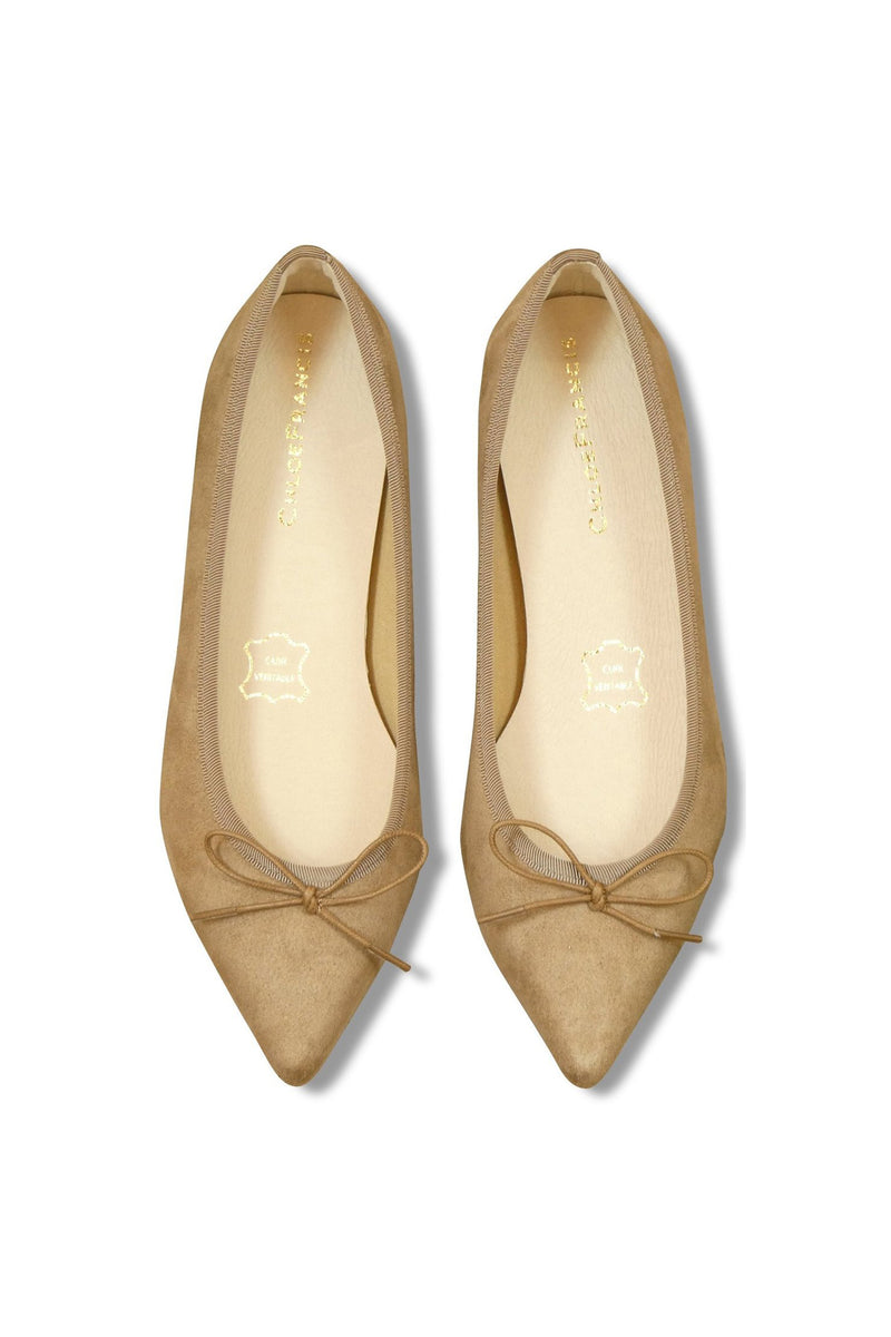 Beige Point-toe Flats