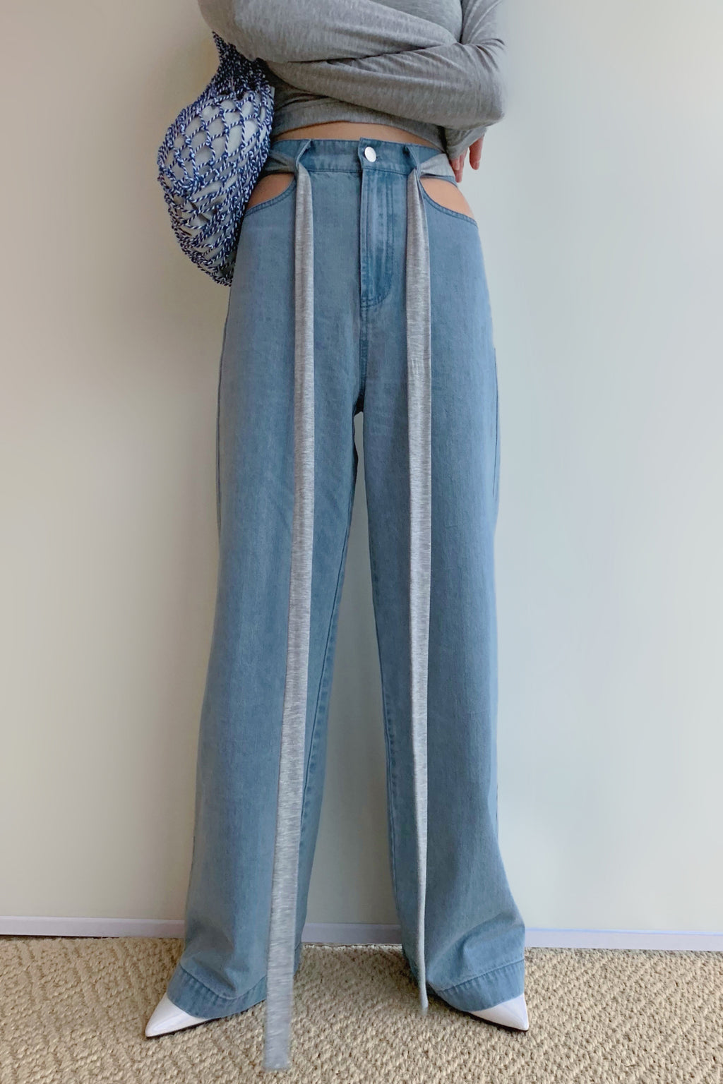 Partial Hollow Wide Leg Jeans