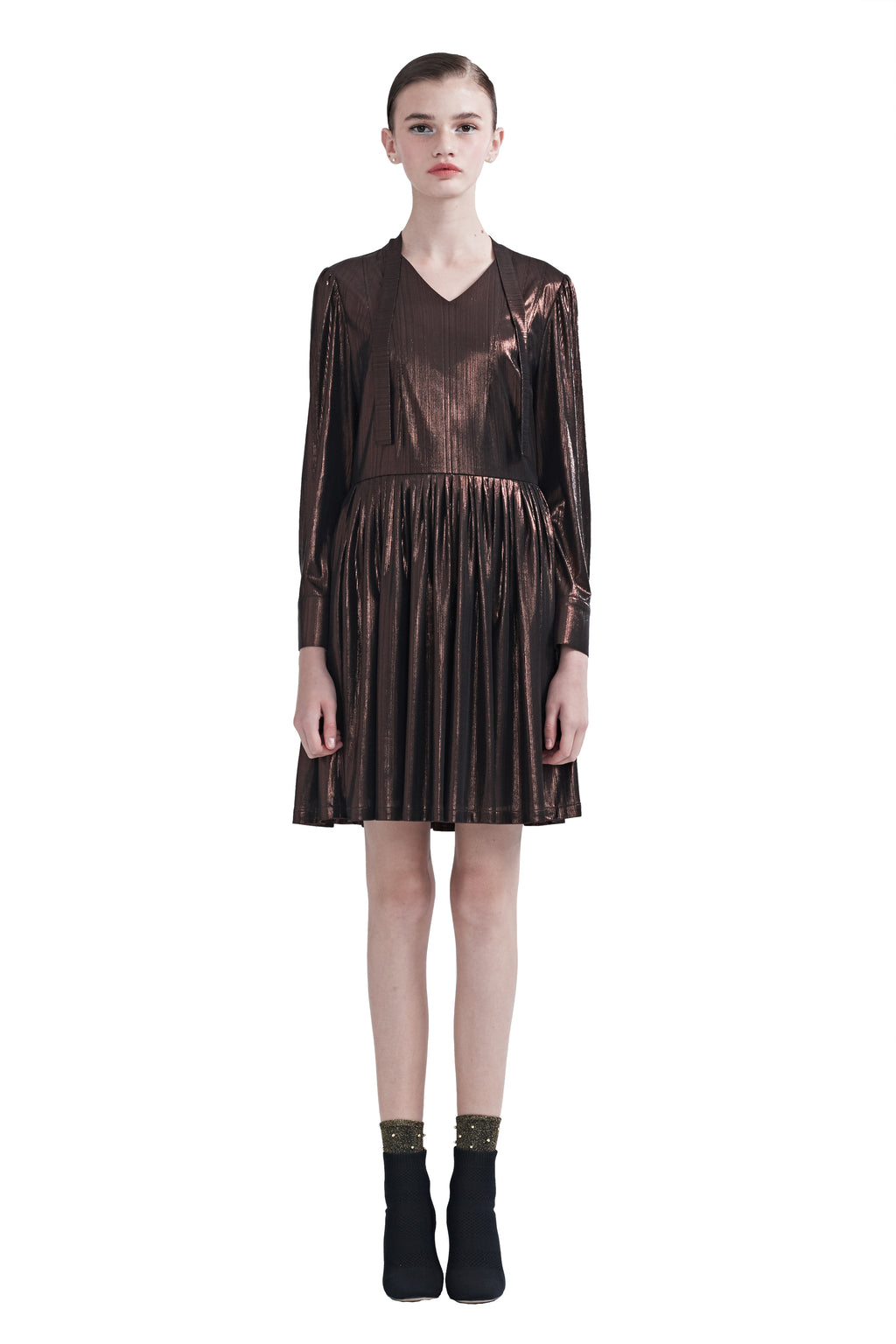 Brown Glossy Collar Tucked Hem Dress